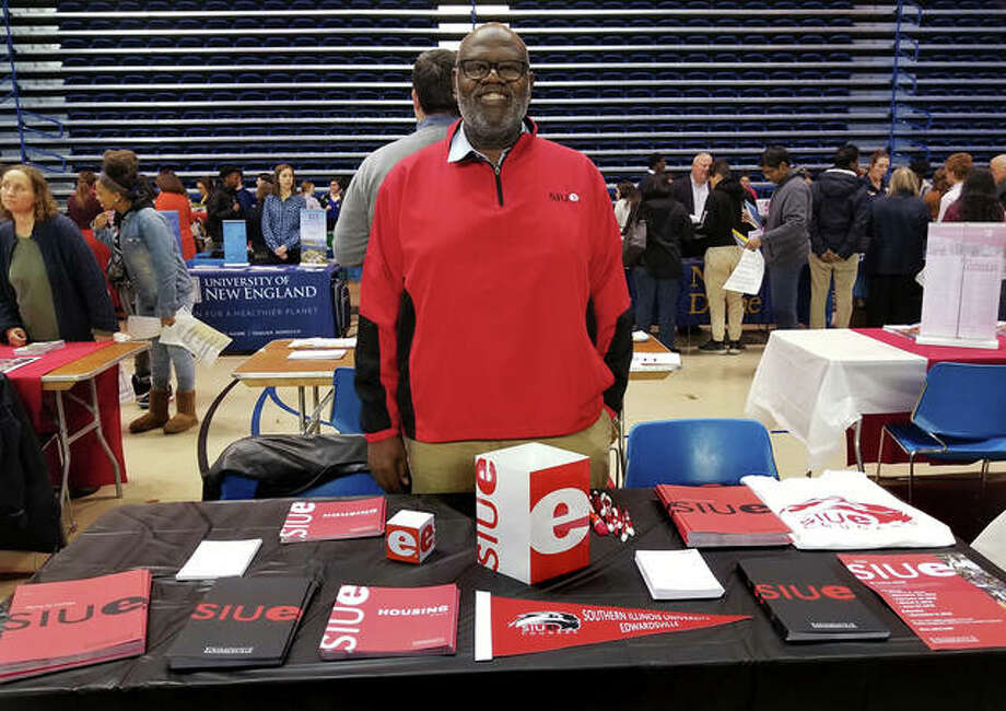 SIUE Alumni Recruitment Ambassador Michael Yancey represented the university at the New Castle County College Fair in Newark, Delaware. Photo: For The Telegraph