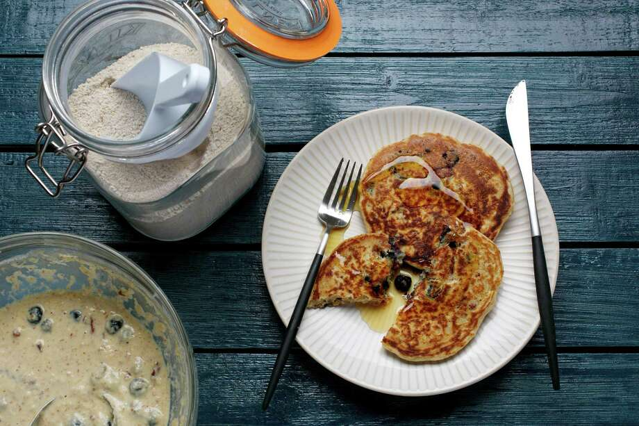 Whole-Wheat Almond Pancakes and mix. Photo: Photo By Deb Lindsey For The Washington Post. / The Washington Post