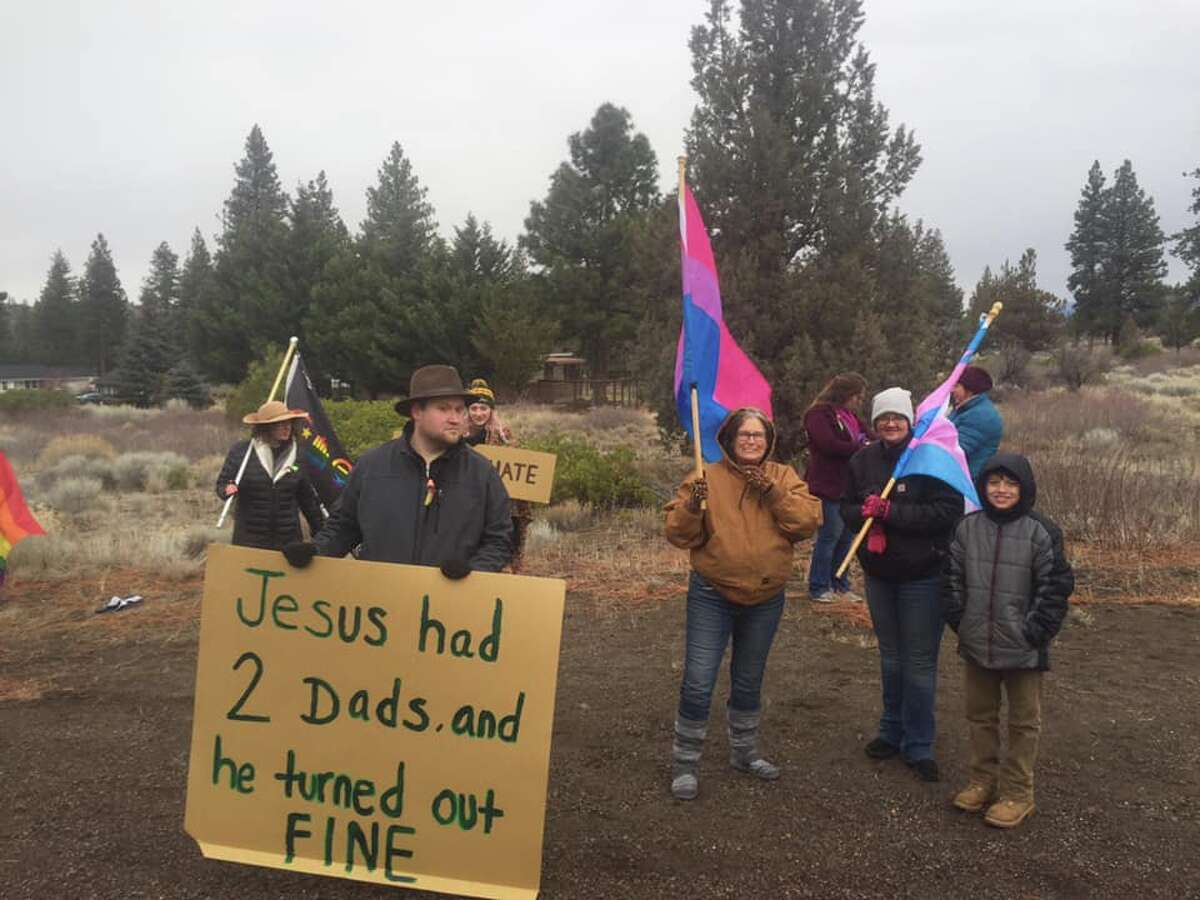 A sign condemning homosexuality posted in front the Trinity Bible Presbyterian Church in Lake Shastina, Calif. has sparked a controversy among local residents. On Sunday, Jan. 6, protesters with the Lake Shastina Love Rally waved rainbow flags and held signs to show support for the LGBTQ community.
