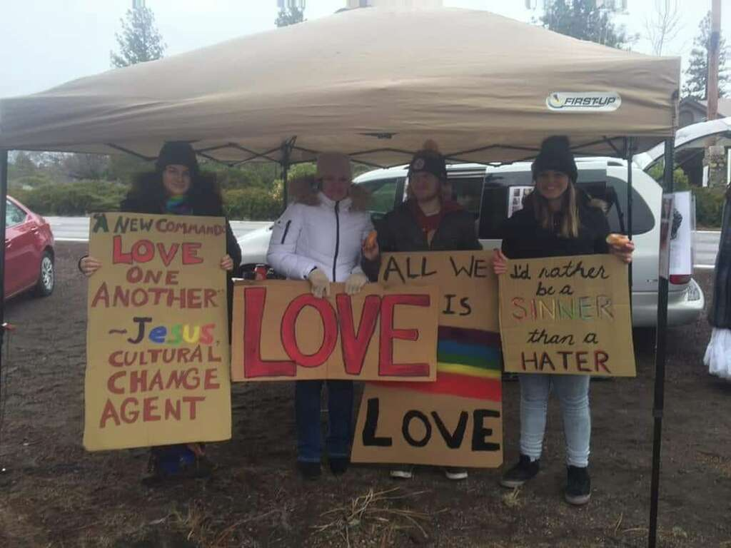 <p>A sign condemning homosexuality posted in front the Trinity Bible Presbyterian Church in Lake Shastina, Calif. has sparked a controversy among local residents. On Sunday, Jan. 6, protesterswith the Lake</p>