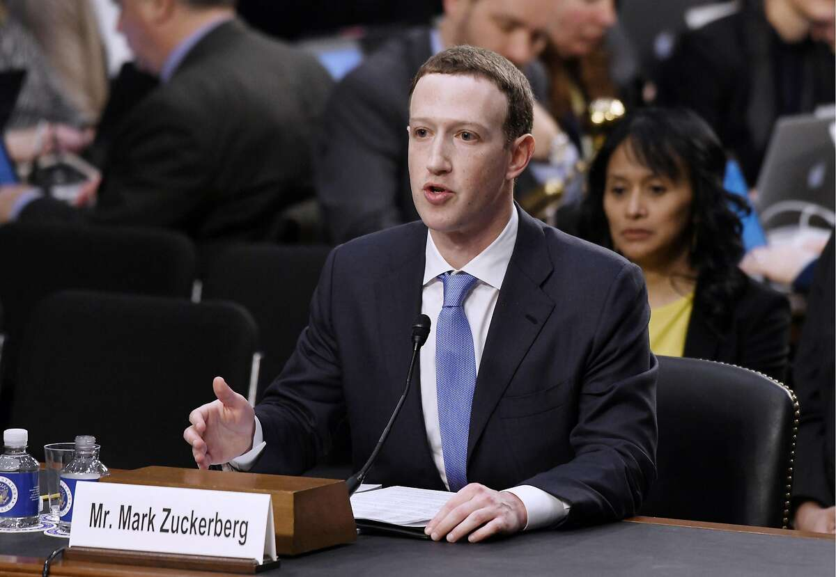 Facebook CEO Mark Zuckerberg testifies before the Senate judiciary and commerce committees on Capitol Hill on April 10, 2018, in Washington, D.C. (Olivier Douliery/Abaca Press/TNS)
