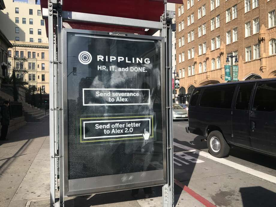 "An ad for Rippling has received criticism for advertising what some call ""1-click layoffs."" Photo: SFGATE"