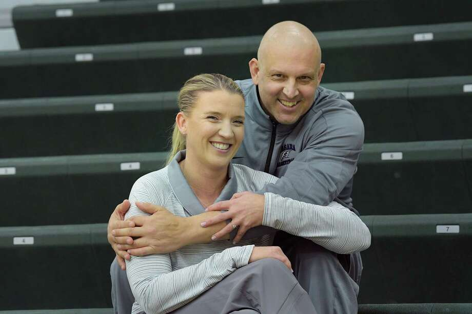 Ali Jaques Foreground Siena Womens Basketball Coach And Her Fiance Marc Rybczyk