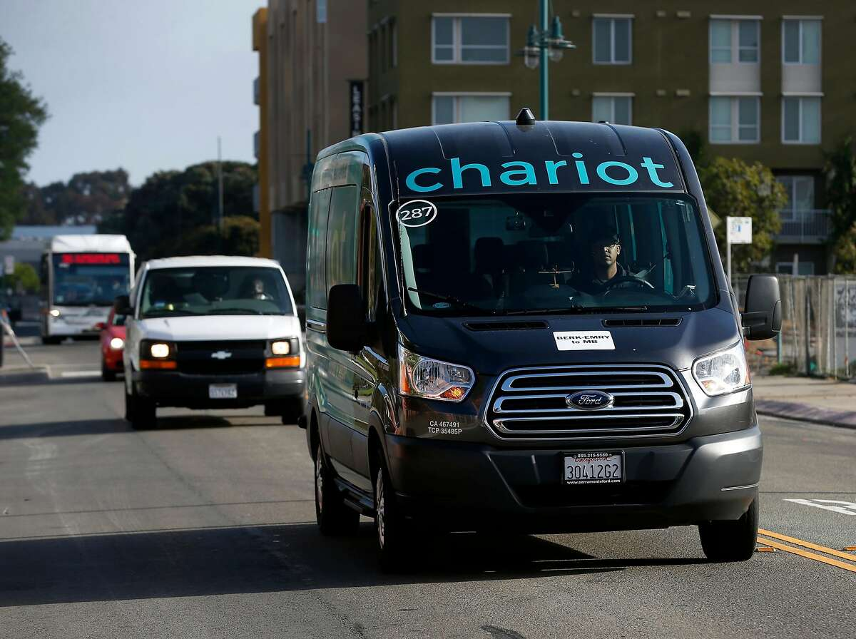 A Chariot shuttle van drives near a commuter stop on Christie Avenue in Emeryville, Calif. on Tuesday, June 26, 2018. A grant from the Metropolitan Transportation Commission is subsidizing commuter runs for UCSF employees to provide transportation between East Bay locations and the Mission Bay campus.