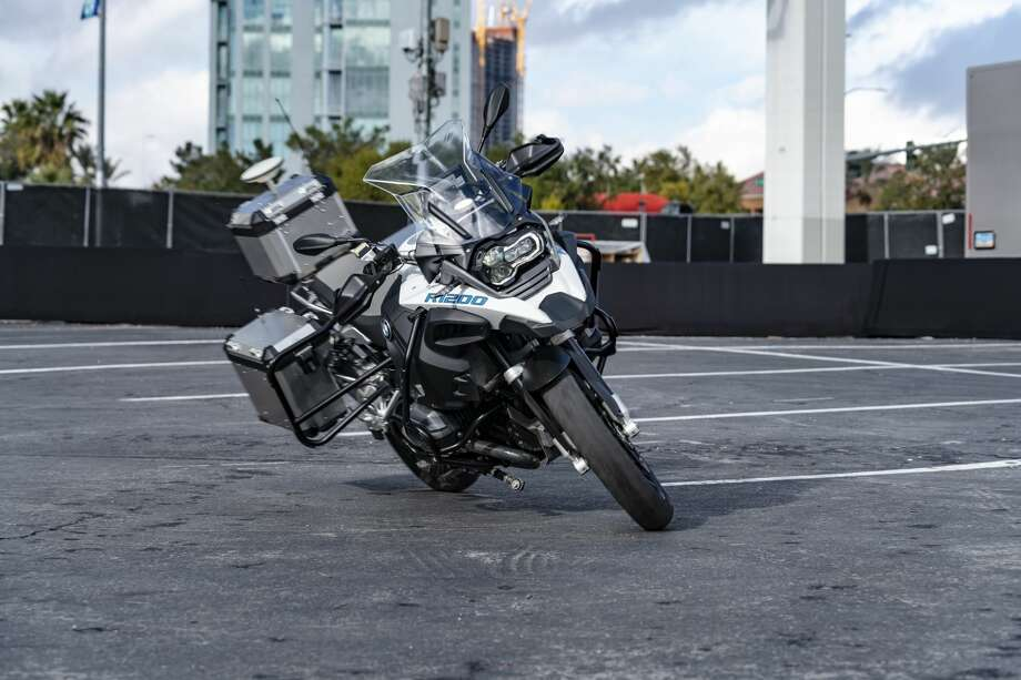 BMW demonstrates a self-driving BMW R 1200 GS motorcycle at CES 2019 in Las Vegas. Photo: BMW