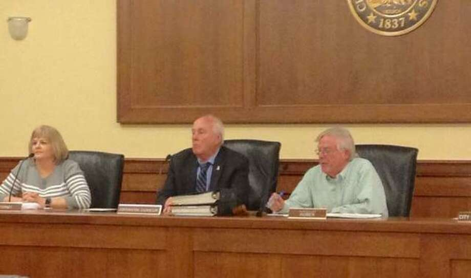 Alton Township Assessor Julie Campbell, attorney Russell Meyer and Alton Township Supervisor Don Huber. Photo: Telegraph File Photo