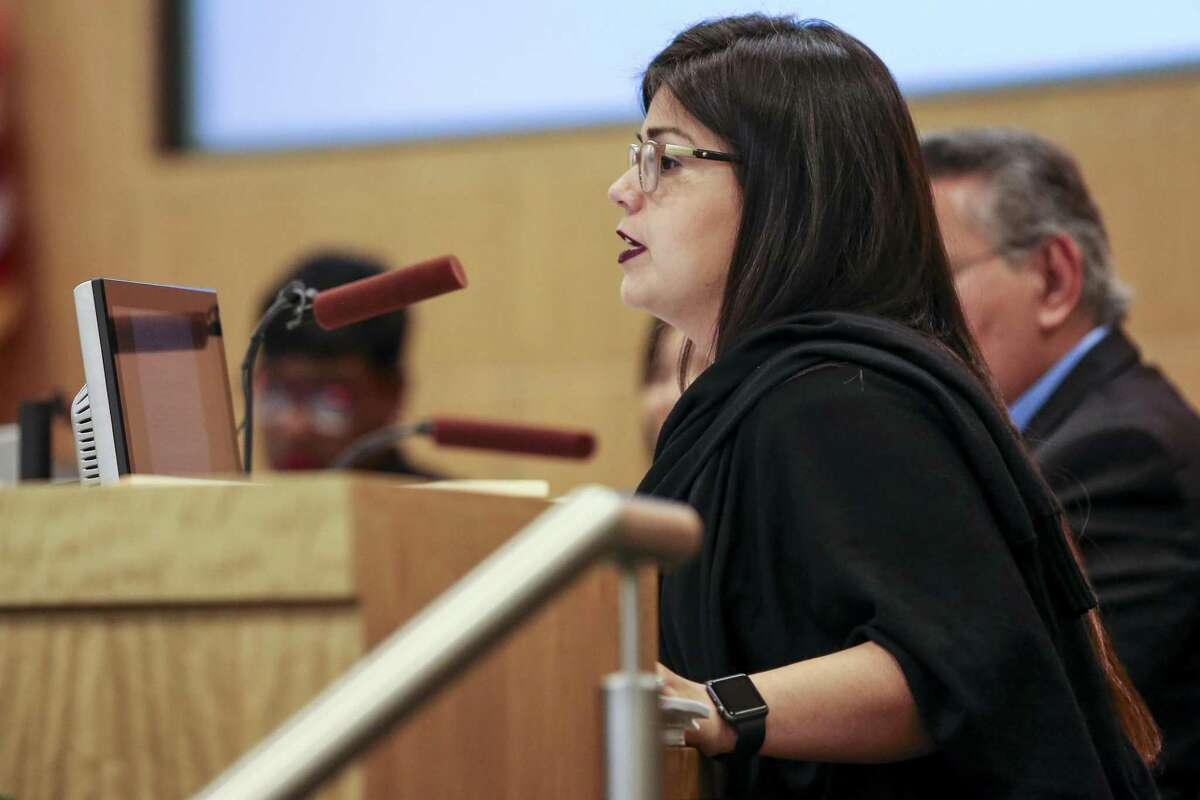 Houston ISD Board of Education District I trustee Elizabeth Santos asks a question during an agenda review meeting Monday, April 30, 2018 in Houston. The board did not vote to send a plan to the Texas Education Agency by the Monday deadline, which could have prevented the state takeover or closure of 10 long struggling schools. (Michael Ciaglo / Houston Chronicle)