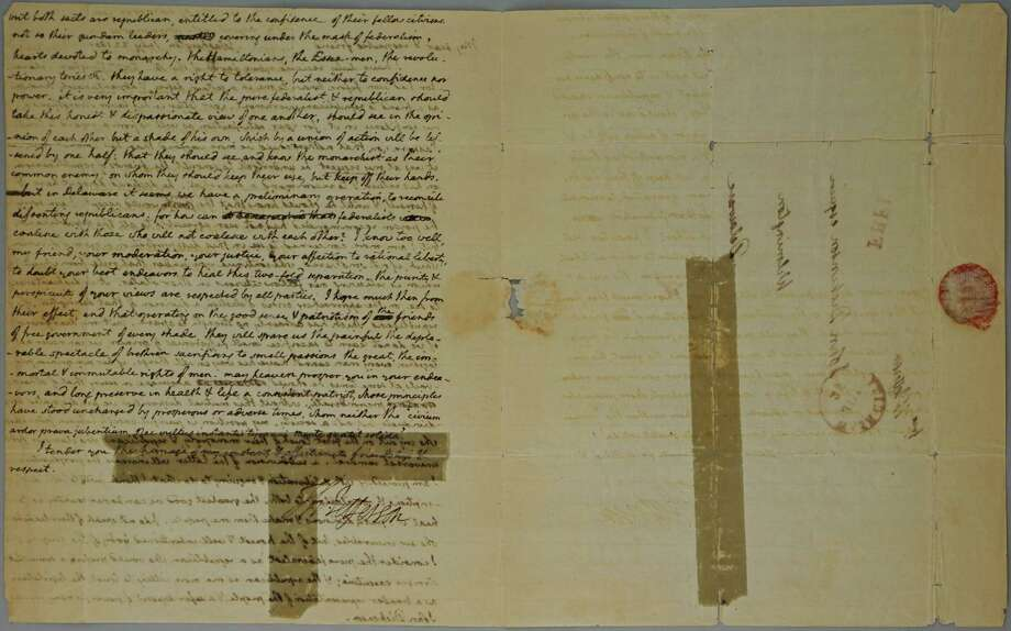 A letter from President Thomas Jefferson to John Dickinson will soon be auctioned. Photo: Photo Courtesy Of The Potomack Company / Courtesy