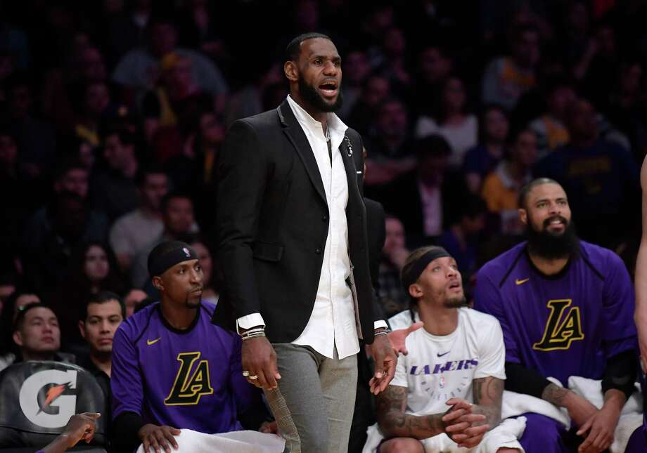 Los Angeles Lakers forward LeBron James stands near the bench during the second half of an NBA basketball game against the New York Knicks Friday, Jan. 4, 2019, in Los Angeles. The Knicks won 119-112. (AP Photo/Mark J. Terrill) Photo: Mark J. Terrill, Associated Press / Copyright 2019 The Associated Press. All rights reserved.