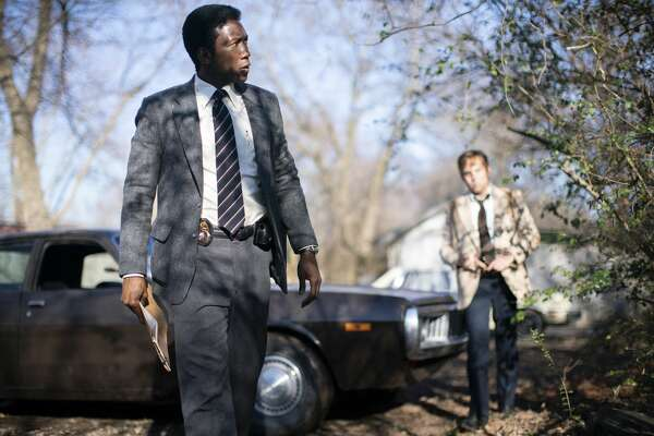 "Mahershala Ali and Stephen Dorff in season three of HBO's ""True Detective."""