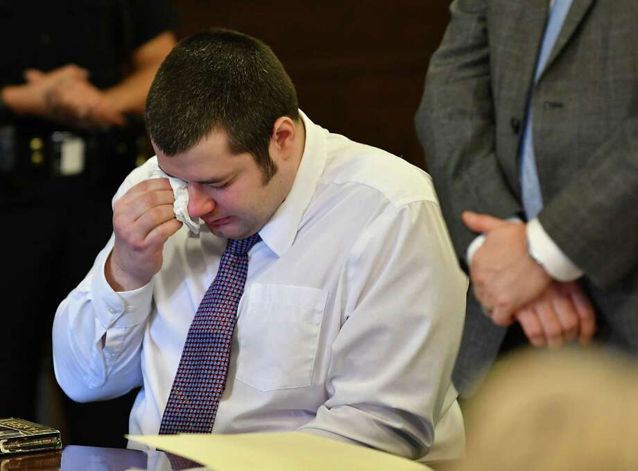 Christopher Downey, 32, of Hoosick Falls gets emotional as he pleads guilty, in Judge Debra Young's court, of first degree course of sexual conduct against a child Thursday, Jan. 10, 2019 in Troy, N.Y. (Lori Van Buren/Times Union) Photo: Lori Van Buren, Albany Times Union / 40045898A