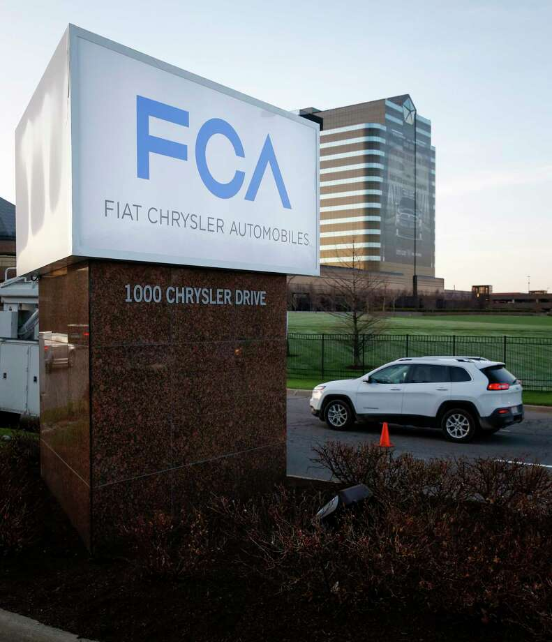 The FCA (Fiat Chrysler Automobile) logo displayed at the Chrysler Group World Headquarters in Auburn Hills, Michigan. Photo: Bloomberg Photo By Jeff Kowalsky / Bloomberg