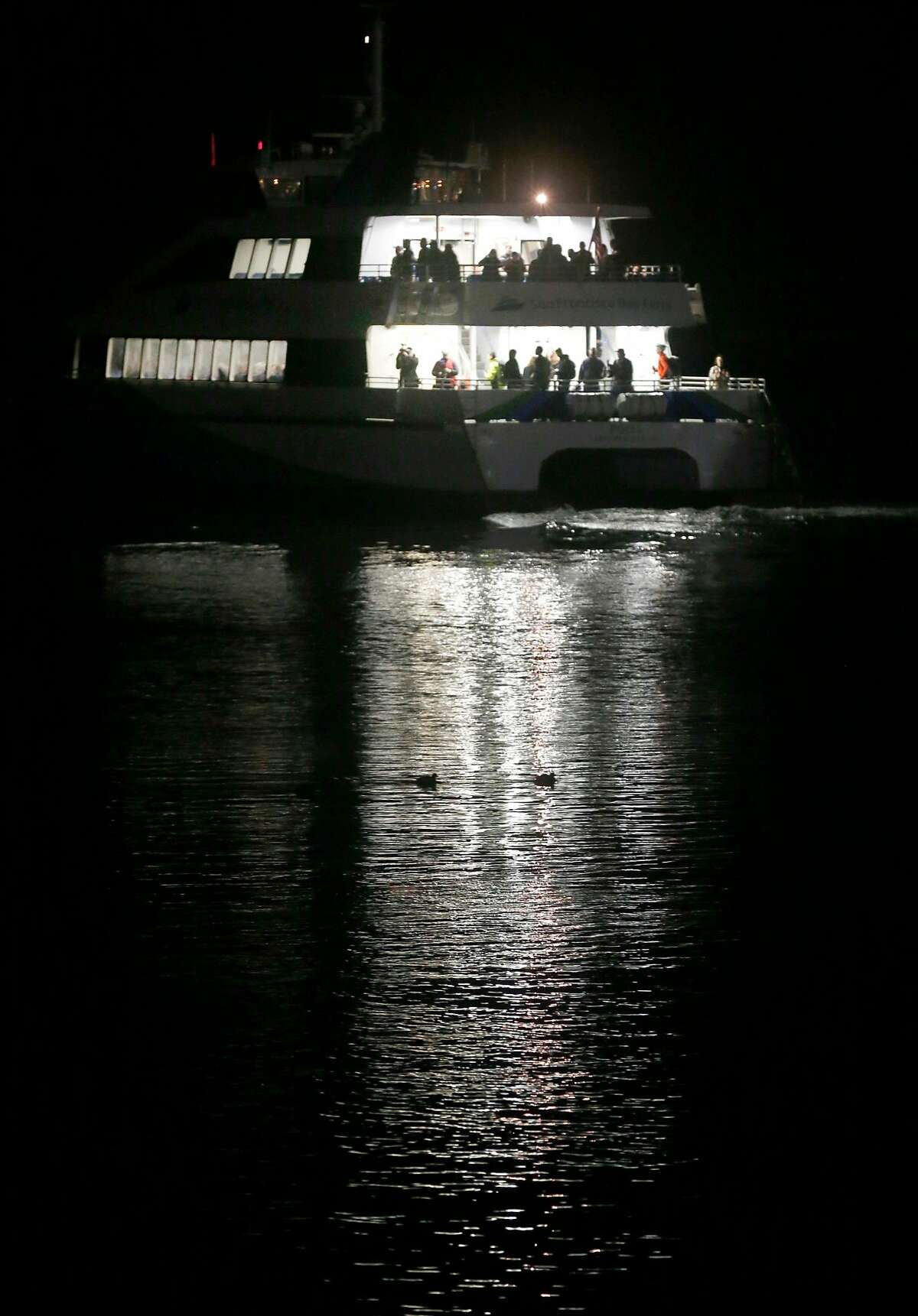 The ferryboat Pisces departs on the 6:10 a.m. run on the first day of ferry service from Richmond to San Francisco in Richmond, Calif. on Thursday, Jan. 10, 2019.