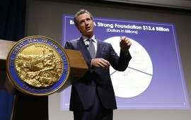 California Gov. Gavin Newsom presents his first state budget during a news conference Thursday, Jan. 10, 2019, in Sacramento, Calif. (AP Photo/Rich Pedroncelli)