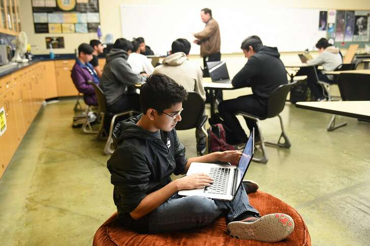 Ayush Alag, 17, from Santa Clara, a senior at Harker School, is developing a DNA test to help him battle his food allergies at the Harker School in San Jose on Thursday December 6, 2018.