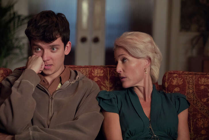 Asa Butterfield and Gillian Anderson in 'Sex Education'