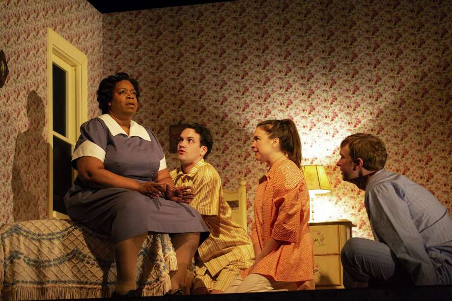 "From left, Benja Kay Thomas, Jacob Perkins, Leah Karpel and Roderick Hill converse in ""Miller, Mississippi."" Photo: T. Charles Erickson / Long Wharf"