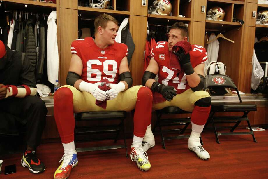 SANTA CLARA, CA - DECEMBER 16: Mike McGlinchey #69 and Joe Staley #74 of the San Francisco 49ers talk in the locker room prior to the game against the Seattle Seahawks at Levi's Stadium on December 16, 2018 in Santa Clara, California. The 49ers defeated the Seahawks 26-23. (Photo by Michael Zagaris/San Francisco 49ers/Getty Images) Photo: Michael Zagaris / Getty Images / 2018 Michael Zagaris