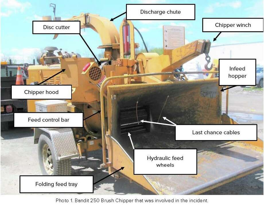 This image from the Occupational Safety and Health Administration report on Justus Booze's death illustrates the parts of the Bandit 250 Brush Chipper. It is the same type of chipper Booze was using when he died.