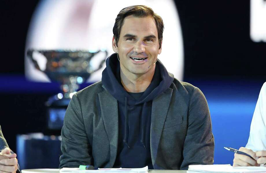 MELBOURNE, AUSTRALIA - JANUARY 10: Roger Federer of Switzerland speaks on stage near the Norman Brookes Challenge Cup during the Official Draw ahead of the 2019 Australian Open at Margaret Court Arena on January 10, 2019 in Melbourne, Australia. (Photo by Scott Barbour/Getty Images) Photo: Scott Barbour / 2019 Getty Images