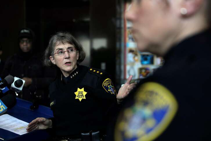 Chief Anne Kirkpatrick speaks to the press as the Oakland police department announced the seizure of about 4 dozen weapons through a joint operation with federal law enforcement agencies - the Bureau of Alcohol, Tobacco, and Firearms, and Drug Enforcement  Administration - at the Oakland Police Department headquarters in Oakland, Calif., on Thursday, January 10, 2019.