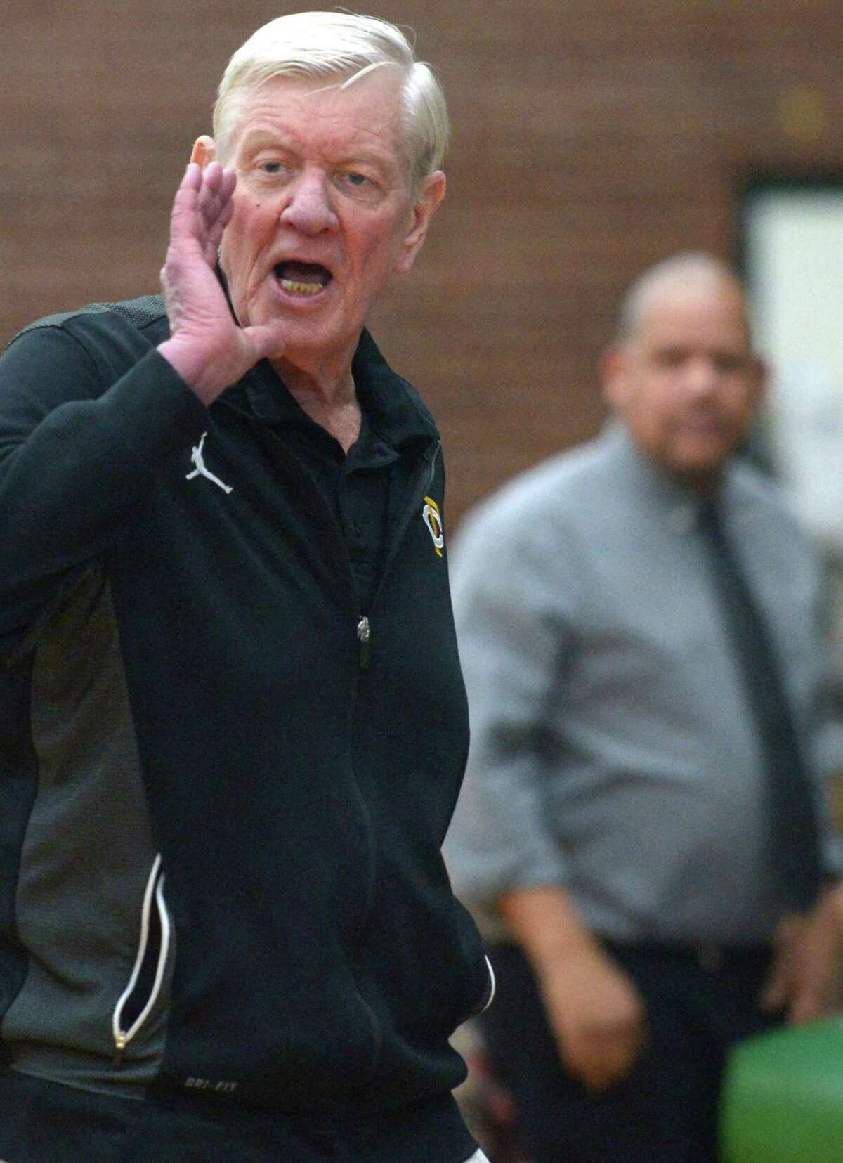 Trinity Catholic head coach Mike Walsh yells to his players during a game against Norwalk on Thursday in Stamford.