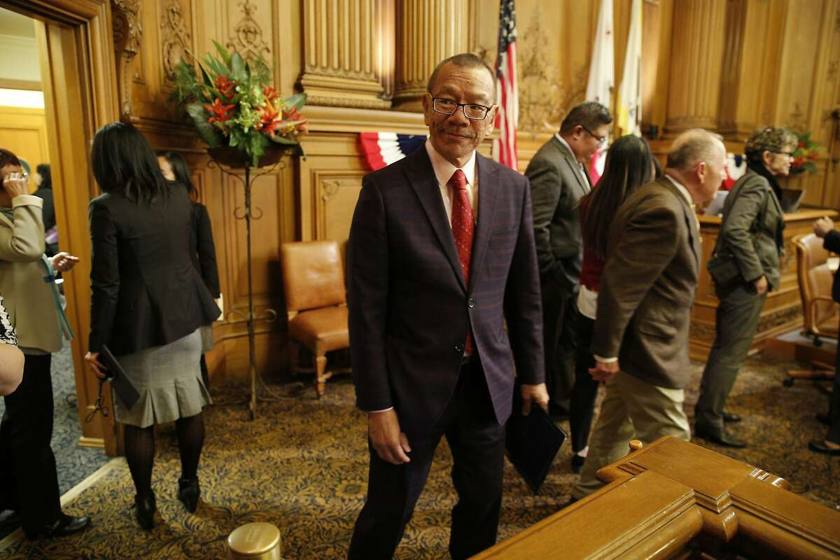 Norman Yee, new president of the Board of Supervisors, after he adjourned the inaugural meeting at City Hall on Tuesday, Jan. 8, 2019, in San Francisco, Calif.