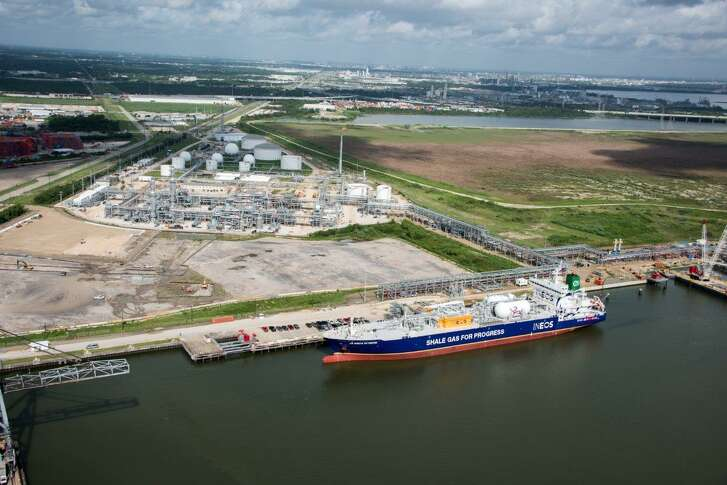 The Ineos Intrepid leaving Enterprise Products Partners ethane export terminal on the Houston Ship Channel. Traffic jams at the Houston Ship Channel caused by extra large container ships are putting growing energy exports at risk, a company executive said.