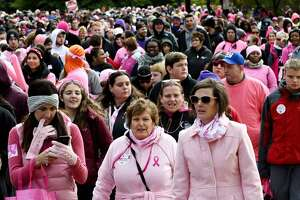 The Making Strides Against Breast Cancer Walk winds its way through Washington Park on Sunday, Oct. 21, 2018, in Albany. (Will Waldron/Times Union)