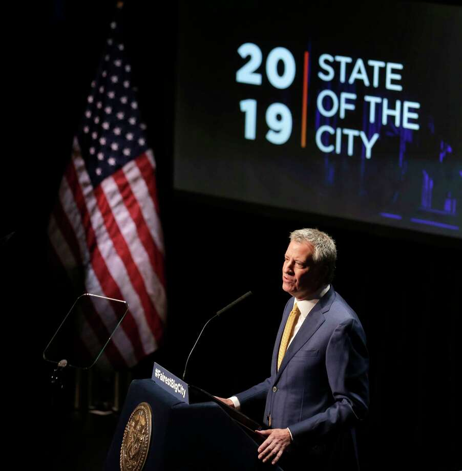 New York City Mayor Bill de Blasio speaks at his State of the City address in New York, Thursday, Jan. 10, 2019.  De Blasio said  he would create a city-managed retirement fund for workers who lack access to employer-sponsored funds as well as a new Office to Protect Tenants. (AP Photo/Seth Wenig) Photo: Seth Wenig / Copyright 2019 The Associated Press. All rights reserved.