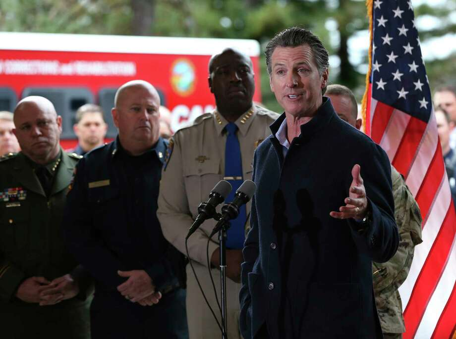 Gov. Gavin Newsom discusses emergency preparedness during a visit to the California Department of Forestry and Fire Protection CalFire Colfax Station Tuesday, Jan. 8, 2019, in Colfax, Calif. On his first full day as governor, Newsom announced executive actions to improve the state's response to wildfires and other emergencies. (AP Photo/Rich Pedroncelli) Photo: Rich Pedroncelli / Copyright 2019 The Associated Press. All rights reserved