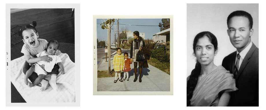 Harris family photos, from left: Kamala with her younger sister, Maya; Kamala, Maya and their mother, Shyamala Gopalan, outside their apartment on Milvia Street in Berkeley in January 1970; Harris' parents; Shyamala and Donald, who met at UC Berkeley during the civil rights movement. Photo: Courtesy Kamala Harris