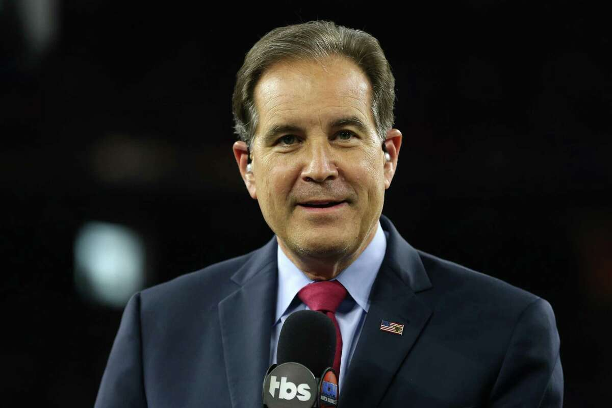 HOUSTON, TEXAS - APRIL 04: Broadcaster Jim Nantz looks on prior to the 2016 NCAA Men's Final Four National Championship game between the Villanova Wildcats and the North Carolina Tar Heels at NRG Stadium on April 4, 2016 in Houston, Texas. (Photo by Streeter Lecka/Getty Images) ORG XMIT: 592274441