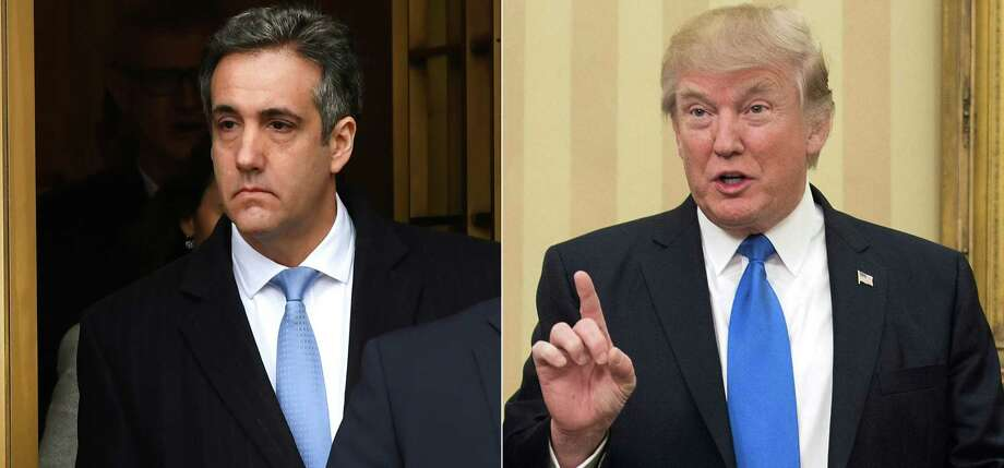 """(FILES)This combination of file photos created on December 13, 2018 shows US President Donald Trumps former attorney Michael Cohen(L) leaving US Federal Court in New York on December 12, 2018 after his sentencing after pleading guilty to tax evasion, making false statements to a financial institution, illegal campaign contributions, and making false statements to Congress, and a file photo taken on February 1, 2017 of US President Donald Trump speaking in the Oval Office at the White House in Washington, DC. - President Donald Trump's former lawyer Michael Cohen will testify in Congress next month, lawmakers said January 10, 2019, posing a potential new threat to the president as the Russia collusion investigation increasingly menaces the White House. The newly Democrat-controlled House Oversight Committee said Thursday that Cohen will testify in a public session on February 7.""""I thank Michael Cohen for agreeing to testify before the Oversight Committee voluntarily,"""" Committee Chairman Elijah Cummings said in a statement. (Photos by TIMOTHY A. CLARY and NICHOLAS KAMM / AFP)TIMOTHY A. CLARY,NICHOLAS KAMM/AFP/Getty Images Photo: TIMOTHY A. CLARY / AFP or licensors"""