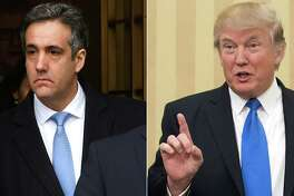 """(FILES)This combination of file photos created on December 13, 2018 shows US President Donald Trumps former attorney Michael Cohen(L) leaving US Federal Court in New York on December 12, 2018 after his sentencing after pleading guilty to tax evasion, making false statements to a financial institution, illegal campaign contributions, and making false statements to Congress, and a file photo taken on February 1, 2017 of US President Donald Trump speaking in the Oval Office at the White House in Washington, DC. - President Donald Trump's former lawyer Michael Cohen will testify in Congress next month, lawmakers said January 10, 2019, posing a potential new threat to the president as the Russia collusion investigation increasingly menaces the White House. The newly Democrat-controlled House Oversight Committee said Thursday that Cohen will testify in a public session on February 7.""""I thank Michael Cohen for agreeing to testify before the Oversight Committee voluntarily,"""" Committee Chairman Elijah Cummings said in a statement. (Photos by TIMOTHY A. CLARY and NICHOLAS KAMM / AFP)TIMOTHY A. CLARY,NICHOLAS KAMM/AFP/Getty Images"""