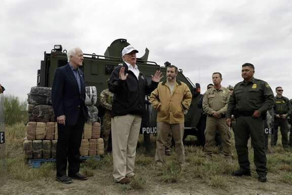 President Donald Trump speaks to the media as he tours the U.S. border with Mexico at the Rio Grande on the southern border, Thursday, Jan. 10, 2019, in McAllen, Texas.