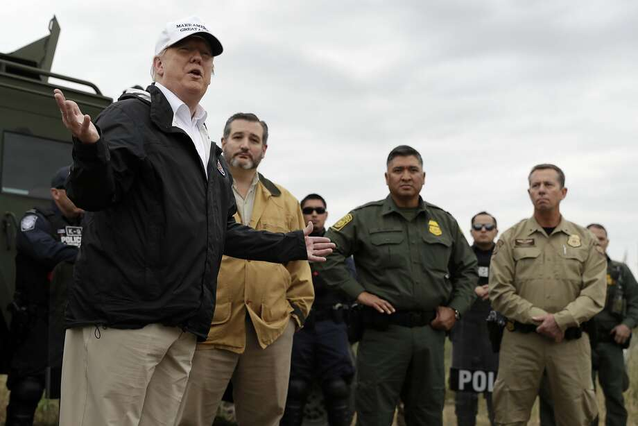 President Donald Trump speaks as tours the U.S. border with Mexico at the Rio Grande on the southern border, Thursday, Jan. 10, 2019, in McAllen, Texas, as Sen. Ted Cruz, R-Texas, listens. (AP Photo/ Evan Vucci) Photo: Evan Vucci, Associated Press