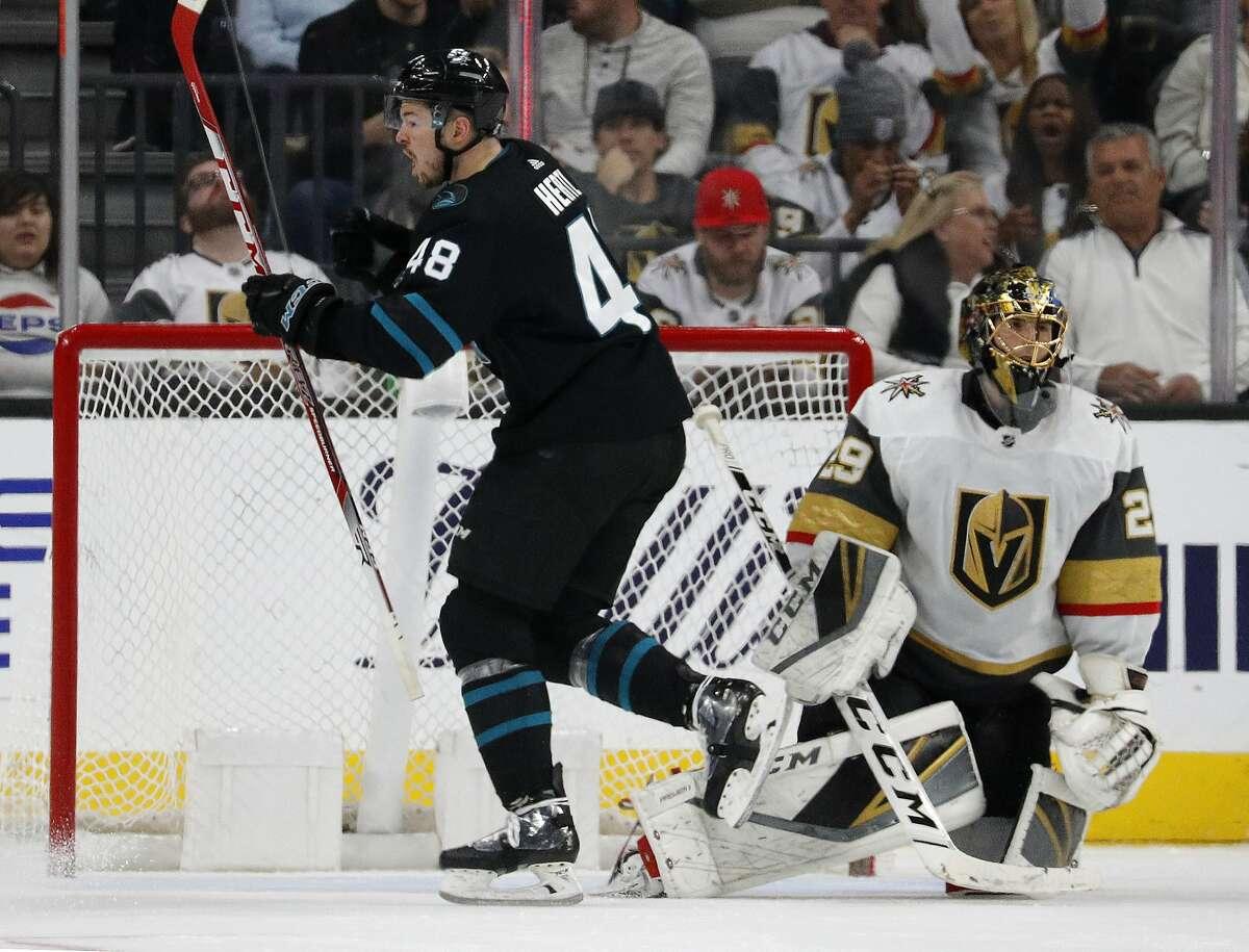 San Jose Sharks center Tomas Hertl (48) celebrates after scoring against Vegas Golden Knights goaltender Marc-Andre Fleury (29) during the second period of an NHL hockey game Thursday, Jan. 10, 2019, in Las Vegas. (AP Photo/John Locher)