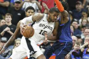 LaMarcus Aldridge drives to the lane as the Spurs host Oklahoma at the AT&T Center on January 10, 2019.
