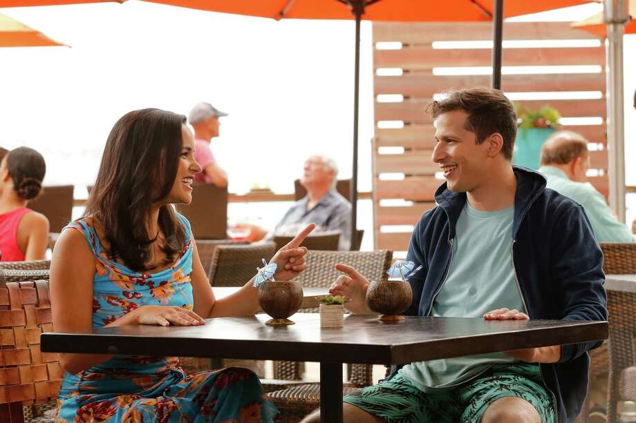 "Melissa Fumero as Amy Santiago, Andy Samberg as Jake Peralta in ""Brooklyn Nine-Nine."" Photo: Vivian Zink, NBC / 2018 NBCUniversal Media, LLC"