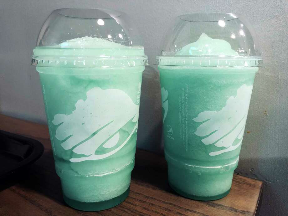 At The Taco Bell Cantina in Alexandria, Va., the vodka-spiked Mountain Dew Baja Blast Twisted Freeze comes in a plastic cup. Photo: Washington Post Photo By Fritz Hahn / The Washington Post