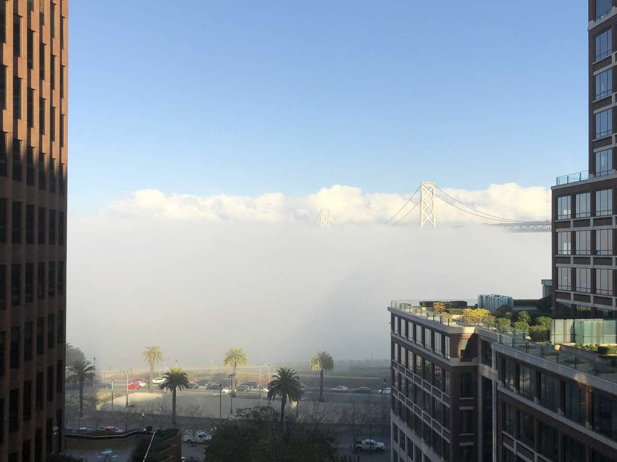 The Bay Bridge appears to have been swallowed up by fog on Jan. 10, 2018.
