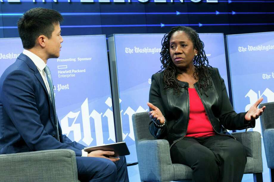 NAACP Legal Defense Fund President Sherrilyn Ifill speaks about bias in artificial intelligence at a Washington Post Live event. Photo: Washington Post Photo By Kristoffer Tripplaar / The Washington Post