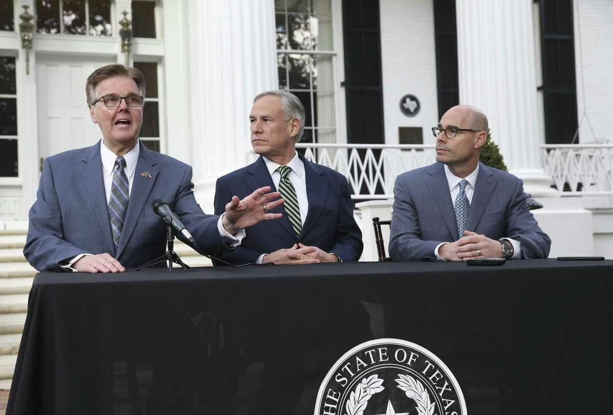 Governor Greg Abbott, Lt. Governor Dan Patrick and Speaker Dennis Bonnen speak at the Governor's Mansion on January 9, 2019.