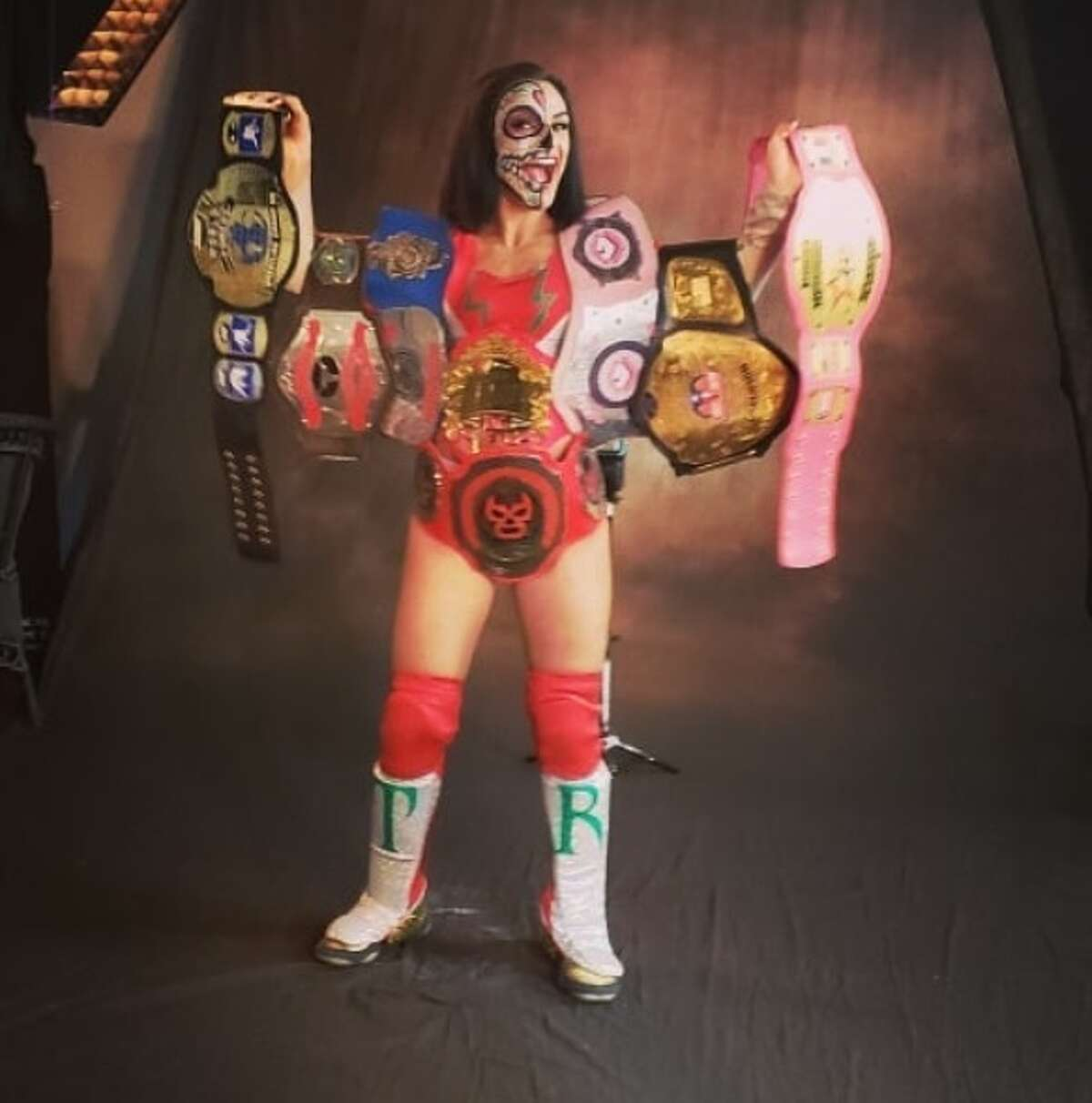 The San Antonio pro-wrestler has 10 belts under her name (all of them not pictured).