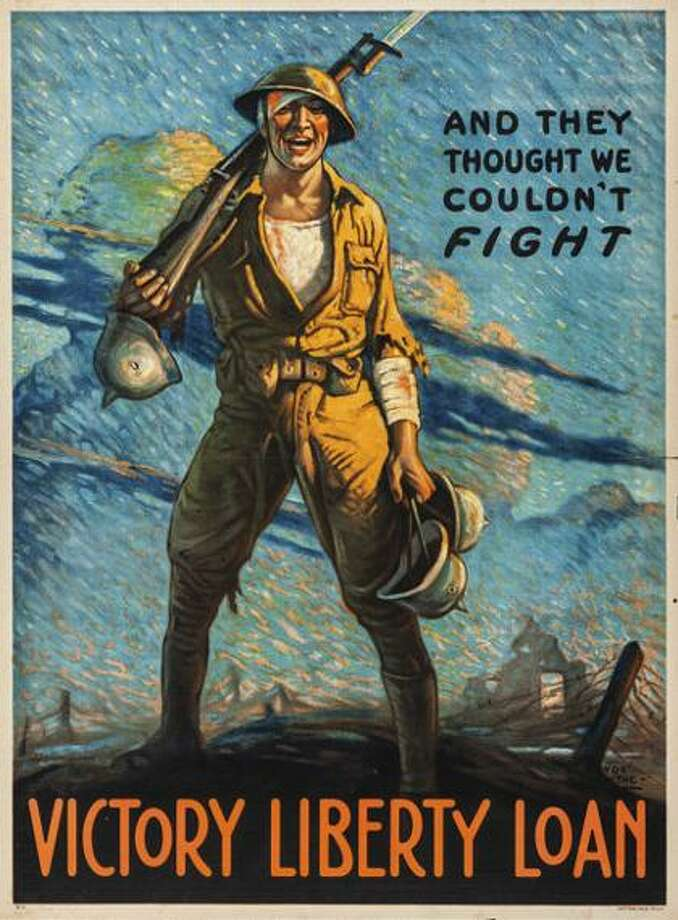 """And They Thought We Couldn't Fight"" is an exhibition of World War I Liberty Loan posters at The Gallery at Still River Editions in Danbury through March 29. There will be a free, public reception for the exhibition on February 2. Photo: Gallery At Still River Editions / Contributed Photo / Connecticut Post Contributed"