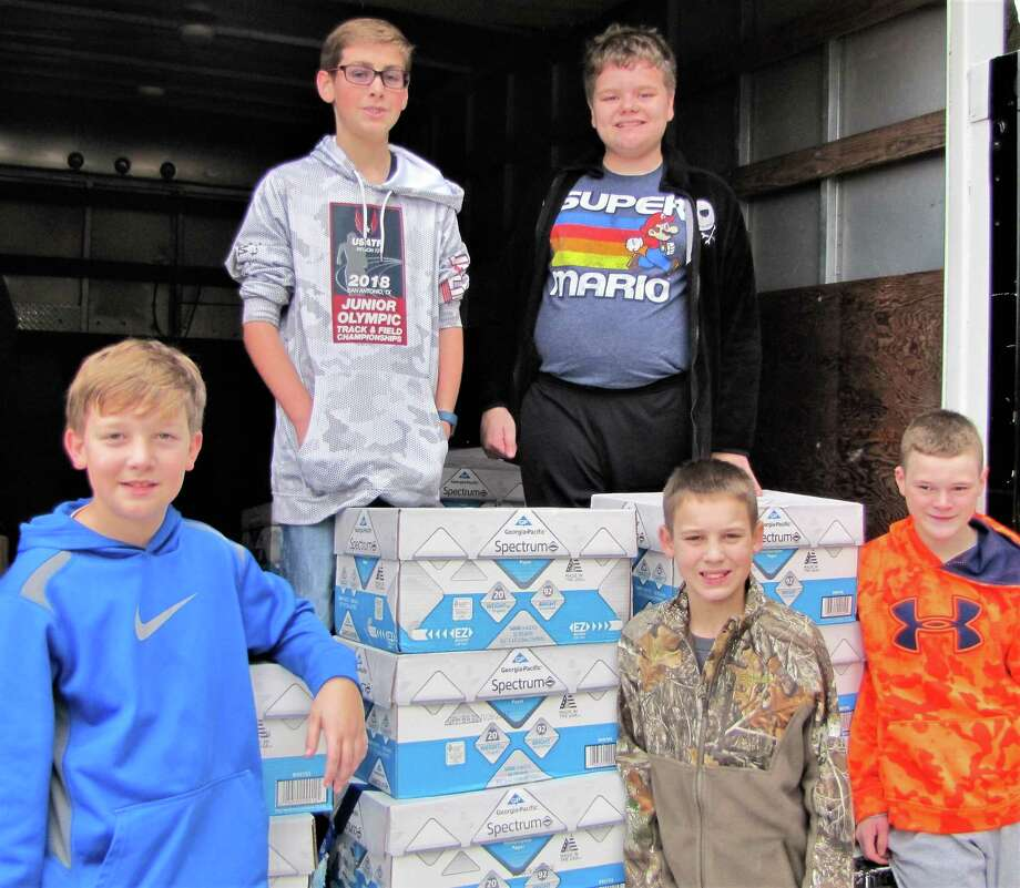 Needville Middle School students helped collect food donated by students and staff members at all four Needville Independent School District campuses last month. The food was delivered to the Needville Ministerial Alliance's Community Food Bank to help area families. From left, front row, are: Landon House, Cale Zwahr and James Schreck; back row: Colton Krobot and Corben Blaschke. Photo: Needville ISD / Needville ISD