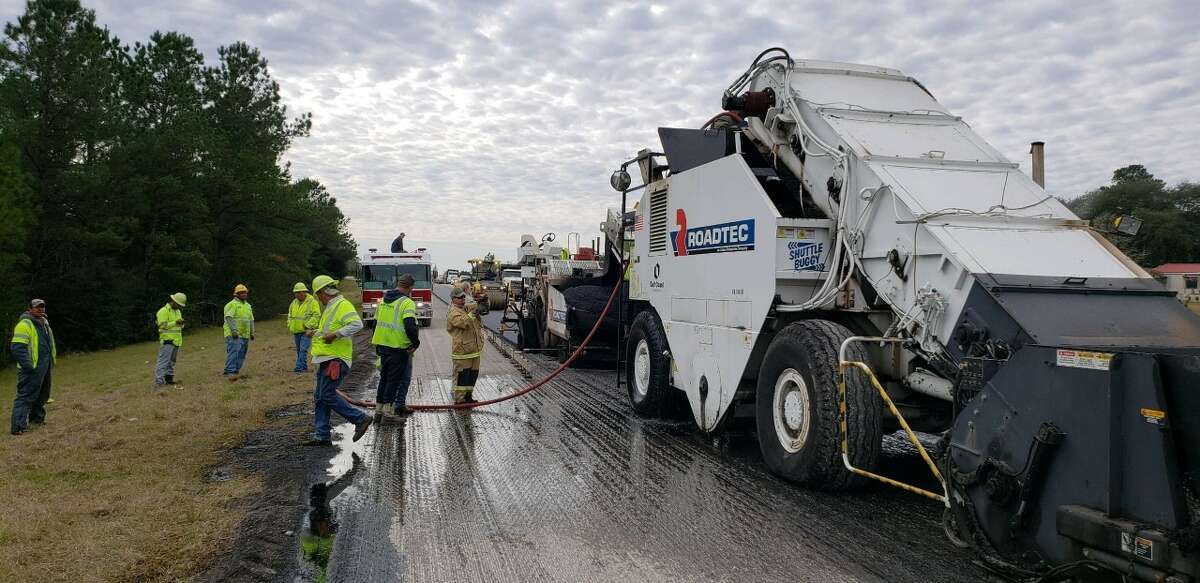 Highway workers had a scare Friday morning when a piece of equipment malfunctioned causing a fire. No injuries were reported and workers and firefighters quickly extinguished the blaze.