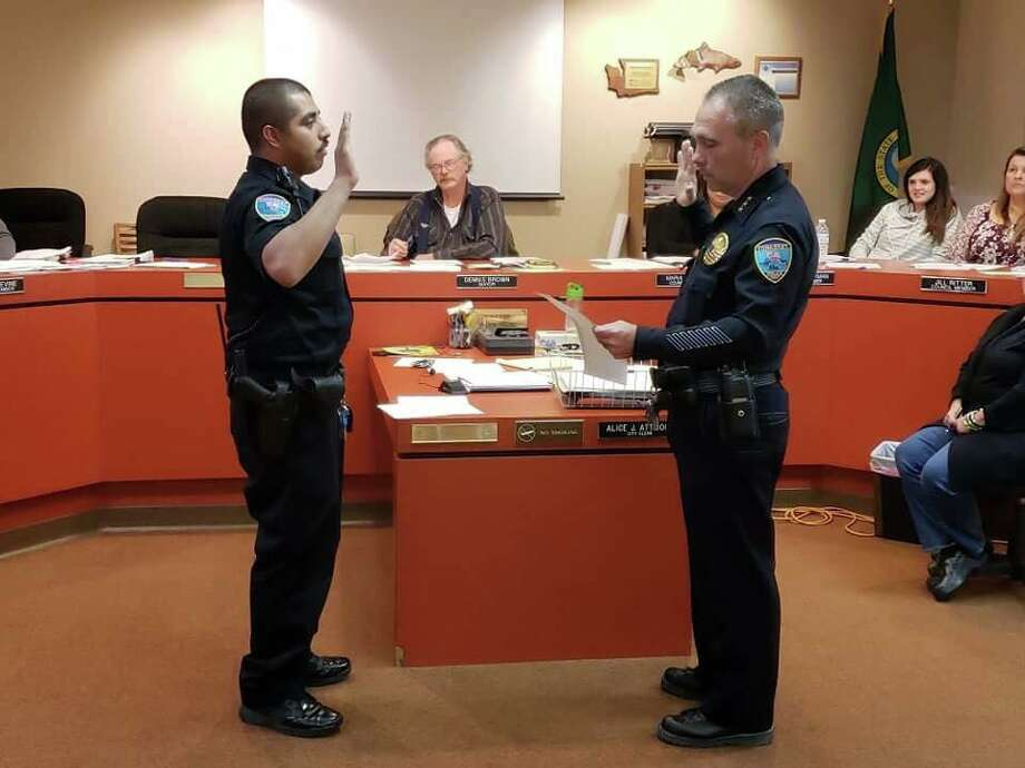 The Spokesman-Review reports that former Officer Jose Perez, above left, told the council that Mayor Dennis Brown asked him to stop using the name Jose when he had interactions with city residents. Photo: Tonasket Police Department