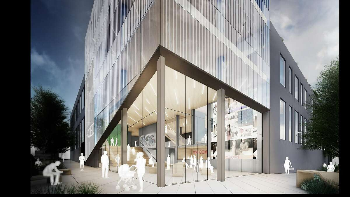 The makeover of KQED's headquarters at Mariposa and Bryant streets in the Mission District will include a distinctive glassy entrance and prow at the corner. The lobby now is located down the block.